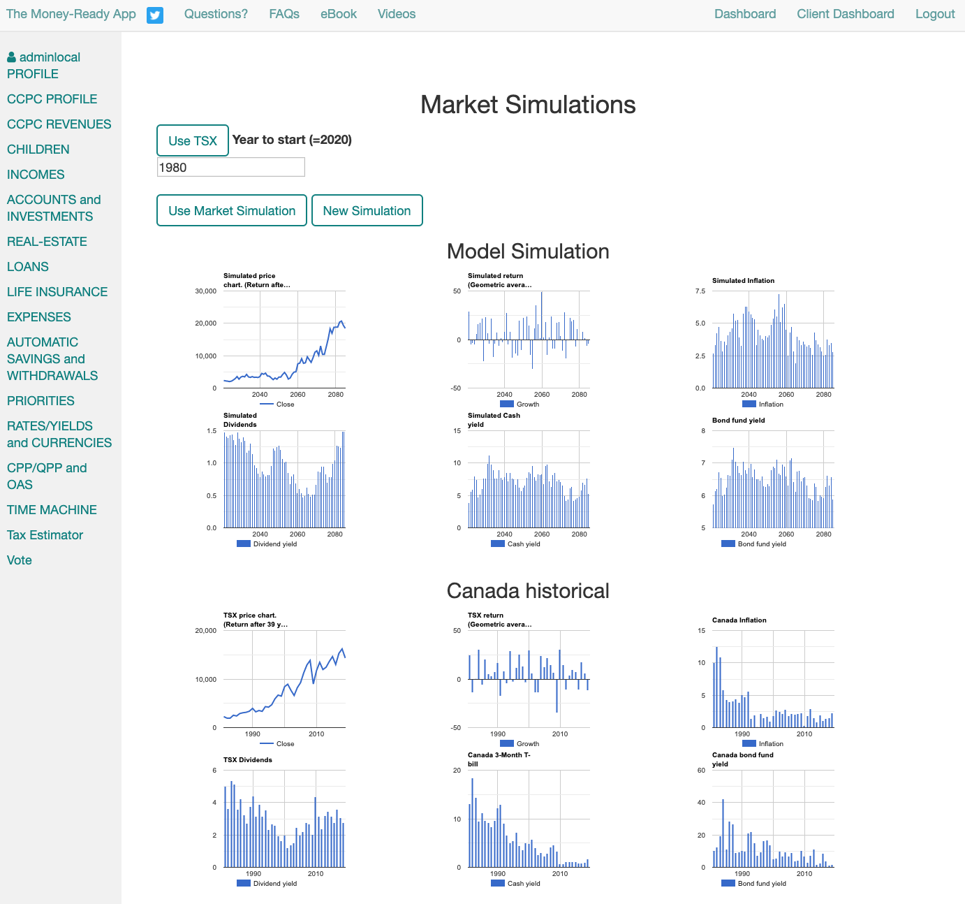 Market simulation screenshot